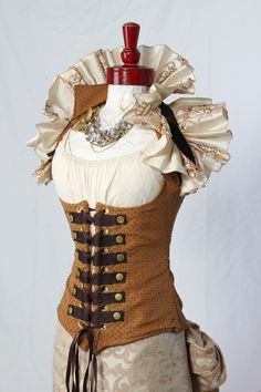 Cream Embroidered Victorian Ruffle Harness Collar and Caramel Steampunk Vixen Corset by Damsel in this Dress Renaissance Clothing, Steampunk Clothing, Renaissance Pirate, Damsel In This Dress, Perfect Posture, Tiny Waist, Spring Steel, Dress Up Costumes, You Look Like