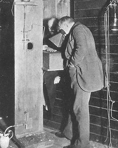 Thomas Edison examines Clarence Dally's, his assistant, hand thru a fluoroscope of his own design. Credit: Science Source / Photo Researchers (Crosby, 38) After his assistant's death (which was radiation related) years later, Edison swore off x-ray research and never touched it again.