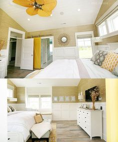 Master Bedroom Ideas. Master bedroom bedroom design with sand grasscloth wallpaper, wall panels, sunburst mirror, mustard yellow sliding barn door, beadboard ceiling, white wood bed, gray tufted bench, mirrored nightstands and built-in window seat. #MasterBedroom #Bedroom