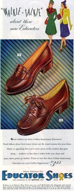 Two wonderfully classic shoe styles from Educator, 1944.