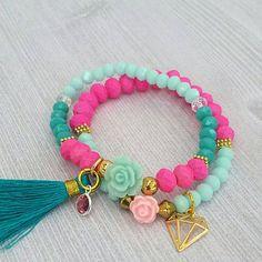 Pink/Teal Crystals Set of 2 bracelets