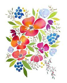 Whimsical flowers watercolour painting - pink and purple - art print, wall art - Mother's day Watercolor Art Diy, Watercolor Flowers, Flower Room Decor, Paint Cards, Orange Art, Purple Art, Art Mural, Wall Art, Rose Art