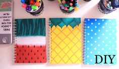 Cute & Colorful Notebooks Learn how to make diy notebook covers with these amazing tutorials just for you! You won't be able to stop gushing over these cute notebooks. Diy Notebook Cover For School, Notebook Covers, Notebook Collage, Notebook Cover Design, Diy Cahier, Diy Back To School Supplies, School Notebooks, Cool Diy Projects, Polka Dot Print