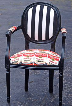 WARHOL inspired Upholstered antique Louis XV CHAIR Campbells Tomato Soup Black White Stripe pop art
