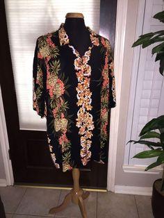 Mens Black Floral Hilo Hatties The Hawaiian Original Shirt Size 5XL  #HiloHattie #ButtonFront