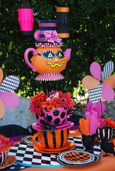 Halloween Mad Hatter party.  Wonderland PROP rental and event decorating services provided by: WONDERLAND PARTY PROPS ( 661 ) 250-8164 http://www.facebook.com/pages/Wonderland-Party-Props/159537750764498