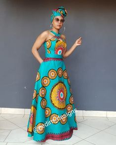 Image may contain: 1 person, standing Shweshwe Dresses, African Maxi Dresses, African Attire, African Wear, African Outfits, African Print Fashion, Ethnic Fashion, African Prints, African Traditional Dresses