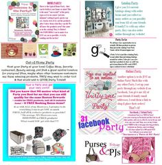 These are the types of parties I can hold, all you have to do is be the Hostess! Ask me for details!! www.mythirtyone.com/JeannineW/