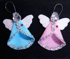 "This is such a fun and easy little felt angel to make! I used pink to give it a ""retro"" look. This little angel would also look great using aqua color felt. I have a list of materials you will need below AND I have a free pattern for you! Go to http://www. Diy, Felt, Ornament,"