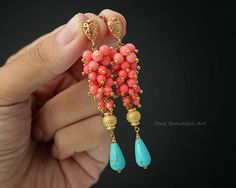 Coral Earrings Turquoise Earrings Gemstone Earrings Teardrop