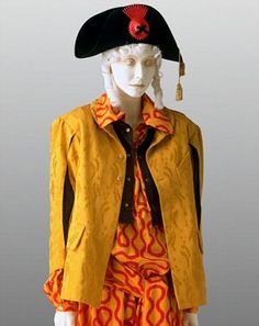 Pirate outfit, Vivienne Westwood, 1981-82. Museum no. The collection was the first catwalk show of vivienne westwood, the silhouette were unisex and colourful back in the days, and also Westwood said that she wants to get out of the dark tunnel ground tunnel in England, so she wanted to make some changes. And those changes took her to the 1st catwalk show in the Olympic.