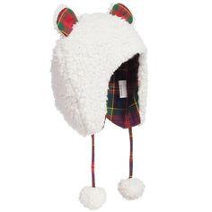Baby Girls White Fleece Hat with Tartan Ears da1c87180e8e