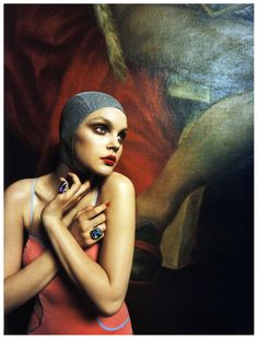 Model Jessica Stam in Vogue Italia shot by Steven Meisel repinned by www.lecastingparisien.com