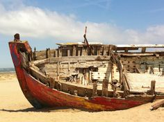 Ship wrecked on a deserted shore, Crow Point, North Devon
