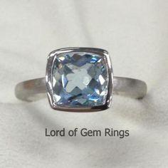Cushion Aquamarine Engagement Ring 14K White Gold 7x7mm Bezel Set - Lord of Gem Rings - 1