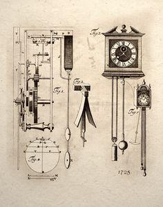 clock mechanical gear system design drawing. {etsy}