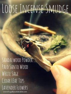 How to make a herbal loose incense smudge blend.to clear negative energy + cleanse the air. Bring warmth and sweet Earth scents into your home. - Pinned by The Mystic's Emporium on Etsy