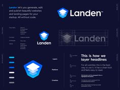 Refined Logo Design proposal for Landen, The Website Builder for Startups.Landen let's you generate, edit and publish beautiful websites and landing pages for your startup. All without code. Start Up Business, Business Logo, Identity Design, Logo Design, Brand Presentation, Invitation, Branding, Modern Logo, Show And Tell