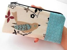 Large Zipper Pouch Coin Purse ECO Friendly Padded June Bird with Aqua Blush OOAK by JPATPURSES, $16.00