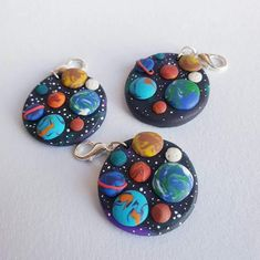 Fimo Clay, Polymer Clay Projects, Polymer Clay Charms, Polymer Clay Earrings, Clay Crafts, Clay Design, Clay Art, Etsy Earrings, Solar System