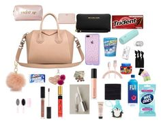 """""""what's in my bag"""" by clearlynyahpooh-cold ❤ liked on Polyvore featuring Givenchy, Michael Kors, Tory Burch, Under One Sky, Bare Escentuals, FACE Stockholm, Forever 21, Beats by Dr. Dre, scunci and Emi-Jay"""