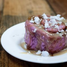 Ube Cinnamon Rolls with Salted Coconut Caramel! Cinnamon rolls using purple yams, giving it a gorge color!
