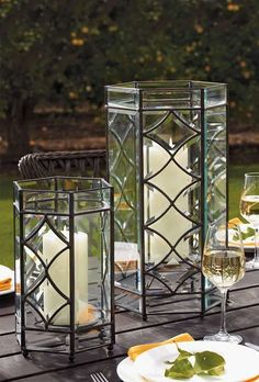 Set a romantic scene in your outdoor space with the help of the Marquee Luminaries that cause candlelight to flicker and dance atop your table.