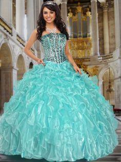 2016 Ball Gown Sequins Blue Organza Long Prom Dress /Quinceanera Dress Davinci 80141