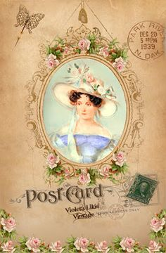 Violeta lilás Vintage: Cartões Postais de Damas Antigas - Vintage