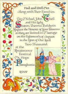Custom wedding invitations for theme weddings, Renaissance weddings, Medieval weddings
