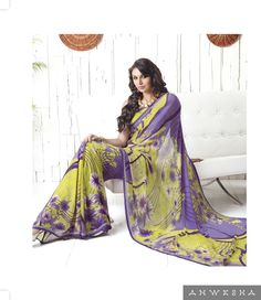 We are offering a designer saree in light green and purple colour, Its a poly georgette printed saree with an exclusive unstitched blouse.