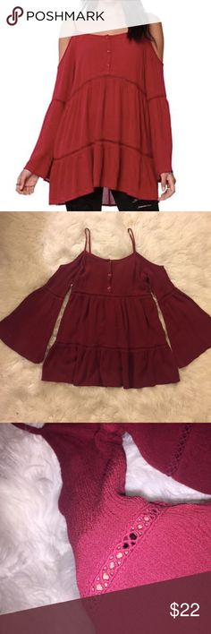 Kendall and Kylie burgundy off the shoulder top Brand is from Kendall and Kylie but bought at pacsun. It's very cute and flowy and has small cutouts as well as shoulder cutouts. It's not see through, the color is perfect for this season. It's not in white just added it to show how flowy it is. Feel free to ask questions or make an offer, no trades PacSun Tops Tunics