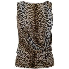 GIAMBATTISTA VALLI Leopard print knot top ($505) ❤ liked on Polyvore featuring tops, blouses, shirts, blusas, assorted, brown shirt, leopard top, sleeveless jersey, leopard sleeveless blouse and draped blouse