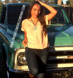 Western silver and turquoise Paisley necklace @ www.UniqueCowgirlCompany.com