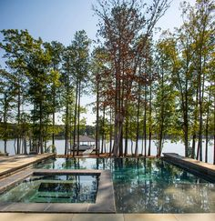 Pool and spa. Pool and spa layout. Lakehouse backyard with pool and spa. Heather Garrett Design , Pool and spa. Pool and spa structure. Lakehouse yard with pool and spa. Heather Garrett Design Pool and spa. Pool and spa structure.