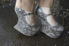 Snake Print heeless wedges