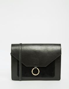 Bild 1 von ASOS – Vintage-Umhängetasche aus Leder mit Metallring-Detail