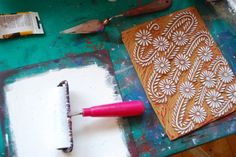 Block Printing tutorial...the process from design to carving to printing. From Katharine Watson.
