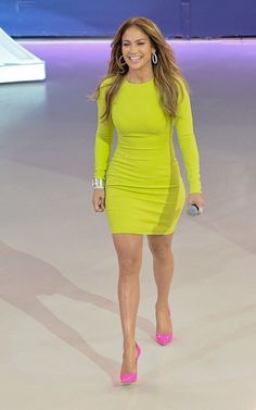 Neon Colors For Spring: Jennifer Lopez Rocks Michael Kors Dress & Manolo Blahnik Pumps! | Rucuss