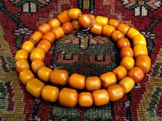 String of North African Moroccan Copal Amber Beads