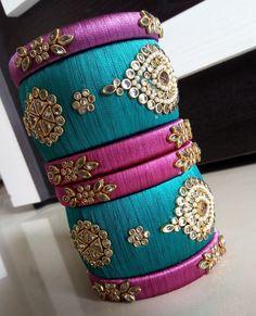 Silk Thread Bangles Design, Silk Bangles, Silk Thread Earrings, Thread Bracelets, Thread Jewellery, Diy Jewelry Tutorials, Thread Art, Learn Embroidery, Handmade Jewelry