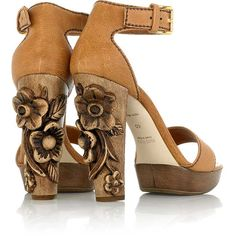 Carved wood heel - Miu Miu Love this. Need to break out some woodworking tools.
