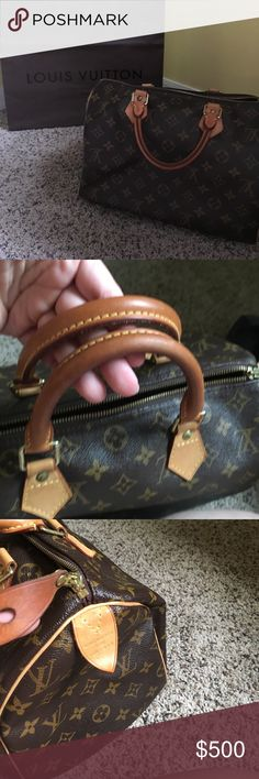 Louis Vuitton Speedy 30. Authentic In excellent condition. Authentic as always. Inside is great. Outside canvas is great. Pull tag darker patina. Handles still  nice and light-medium patina. See all pics. No dustbag. No key with lock. Comes with LV shopping bag. **price firm on this one. Unless bundled with other items over $100**. Please understand Posh takes a 20% fee to sellers and a new LV Speedy will cost you $900+ taxes Louis Vuitton Bags Satchels