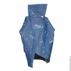 "Купить Весенне-осеннее пальто ""Free Geometry Jeans №2"" - синий, однотонный"