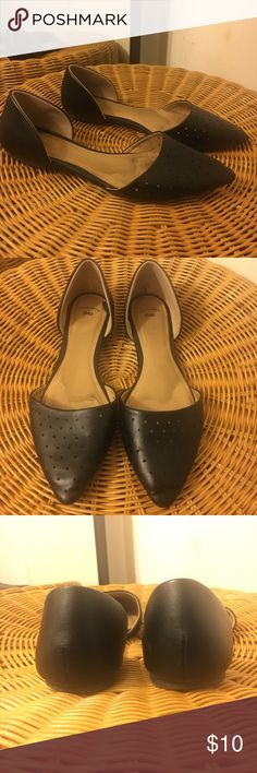 The Gap Leather Flat Genuine perforated leather flat. Super comfy pointed toe. Good condition, the perfect flat for your wardrobe. GAP Shoes Flats & Loafers