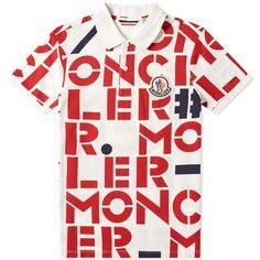 Moncler Genius - 2 Moncler 1952 - All Over Text Logo Polo Printed Polo Shirts, Polo Tees, Short Sleeve Polo Shirts, Genius 2, Polo Shirt Style, Moncler, Missoni, Baby Boy Outfits, Tom Ford