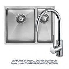 ZENDUO 340/180U 1.5 Bowl Sink with COURBE Chrome Tap