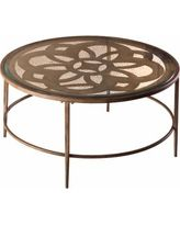 "Hillsdale 36"" Marsala Glass Top Coffee Table, Brown"