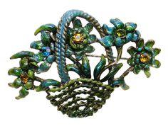 Flower Basket Brooch Green Blue Turquoise Rhinestone via Etsy