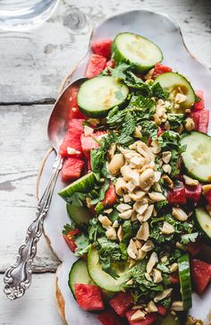 Watermelon & Cucumber Salad #recipe